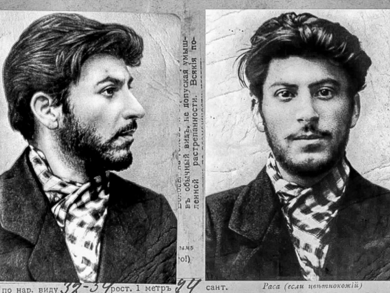 Registro policial de 1902, quando Stálin tinha 23 anos