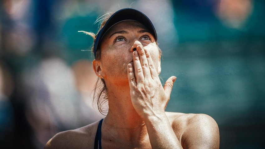 Maria Sharapova reacts after winning her women's singles third round match against Karolina Pliskova of Czech Republic during day 7 of the 2018 French Open at Roland Garros.