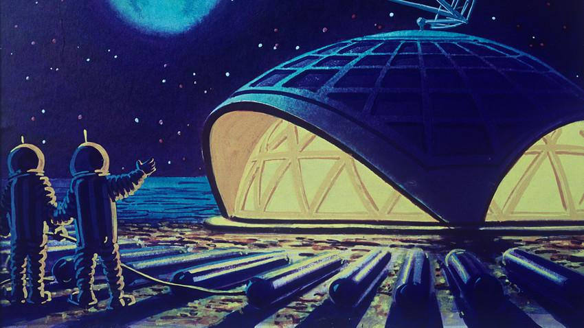 """Репродукција слике """"Лунарна кућа"""" уметника фантастичара Андреја Соколова."""