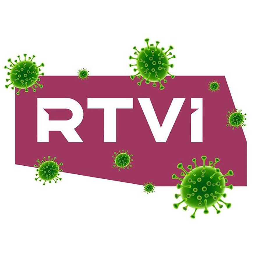 RTVi channel surrounded by coronavirus emojis.