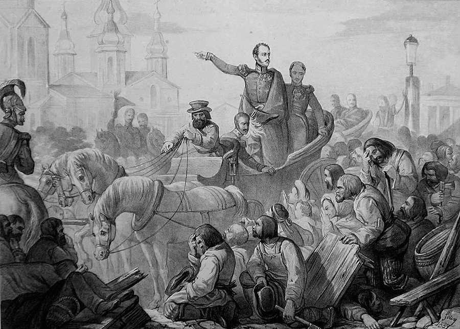 Nicholas I of Russia quelling a riot on the Sennaya Square