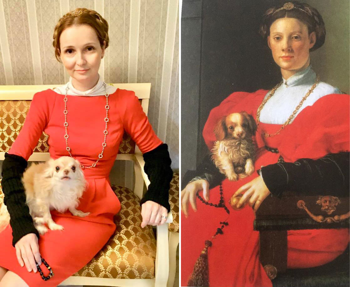 Portrait d'une dame avec un petit chien, Bronzino