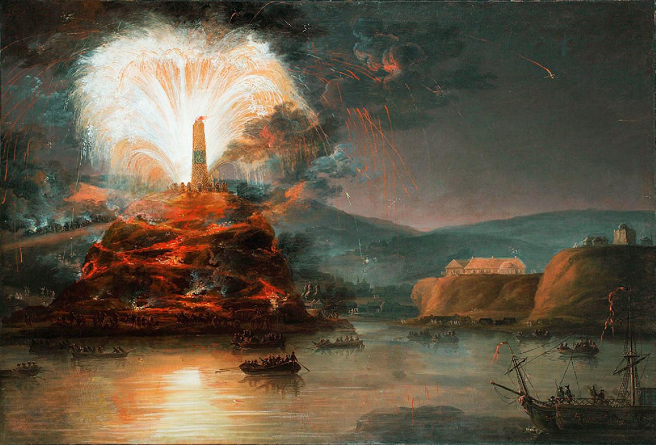 Fuegos artificiales en honor a Catalina la Grande en Crimea en 1787