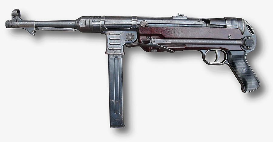 Senapan mesin ringan Jerman MP40.