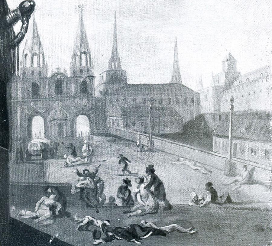 """""""Pestaufstand in Moskau im Jahr 1771"""" von Louis-Theodore Devilly"""