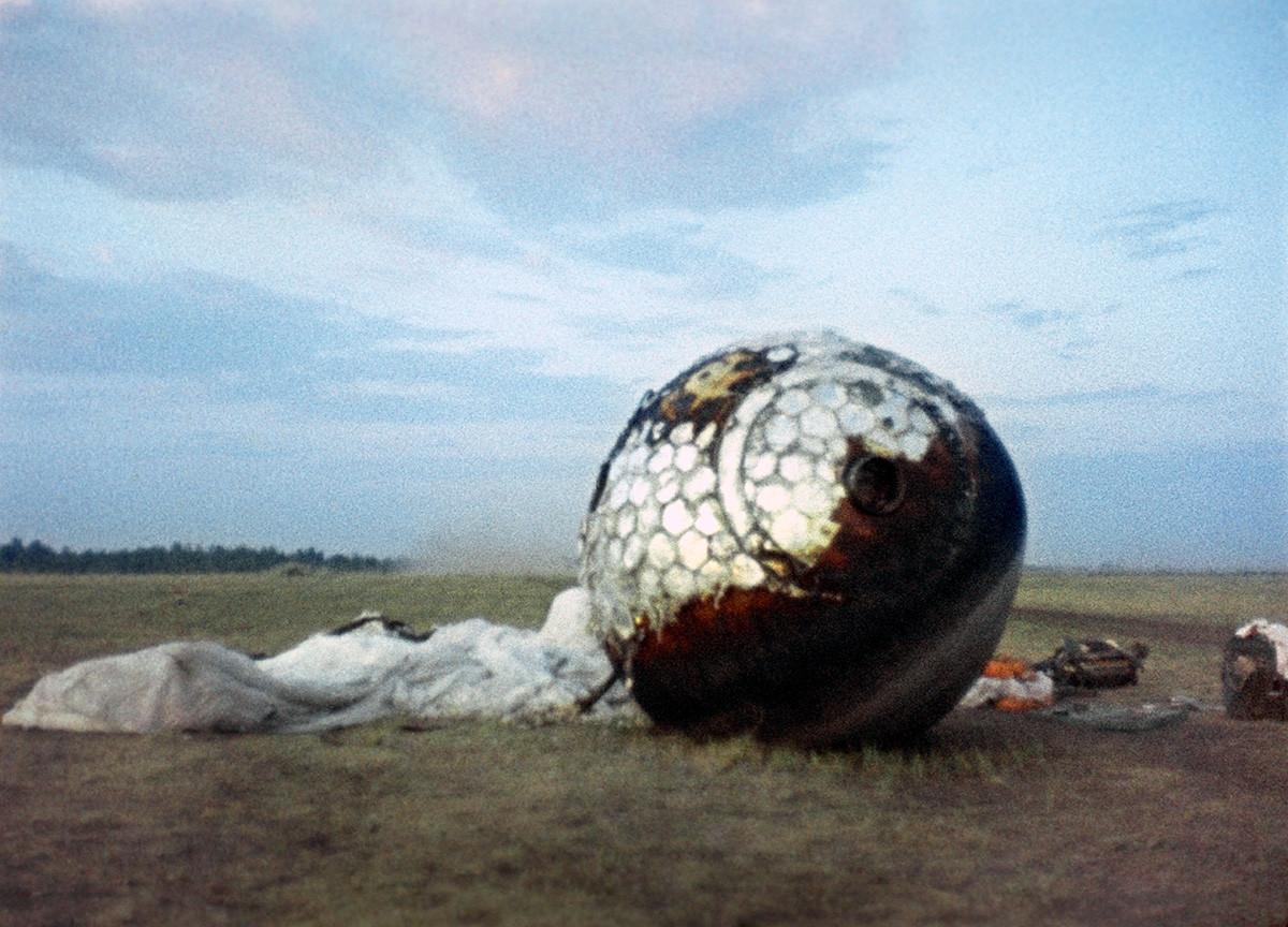 Modul Vostok-1, v katerem je letel Gagarin, po pristanku na Zemljo.