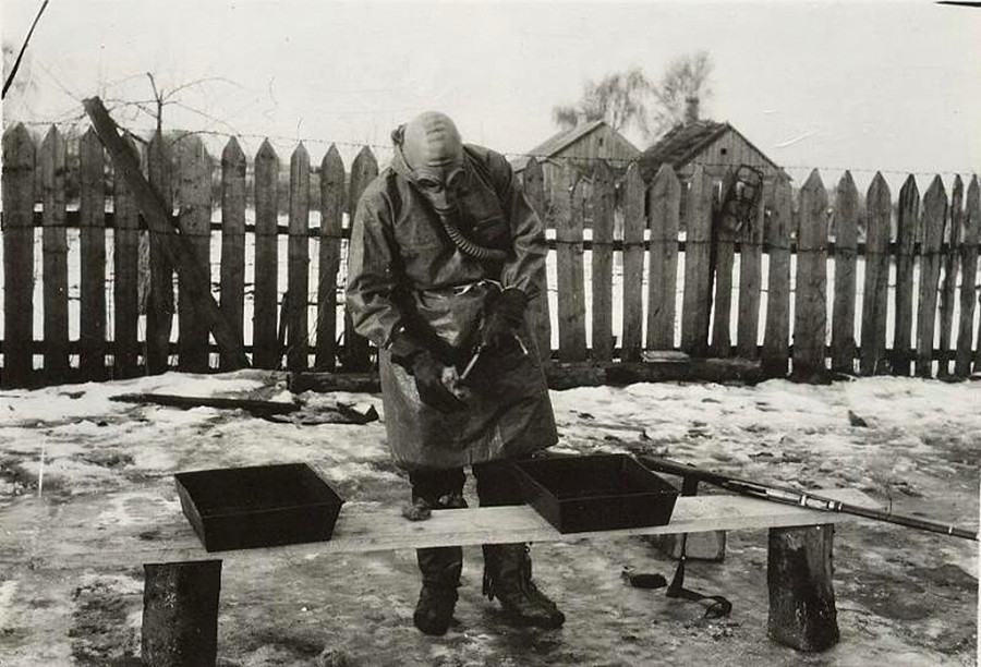 An anti-chemical weapon exercise in the 1930s.