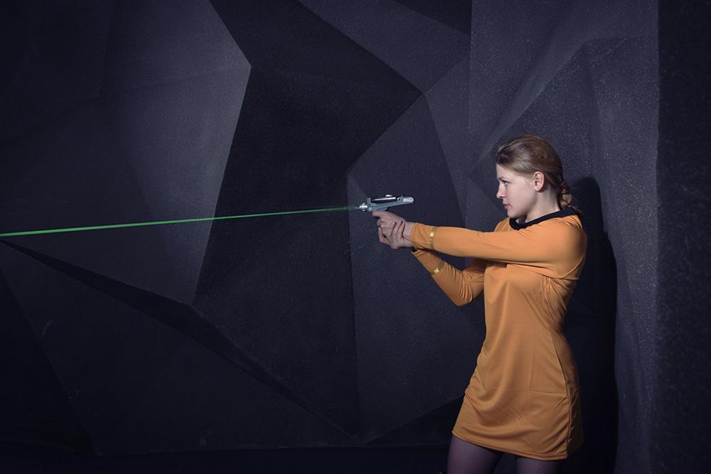 Girl playing lasertag