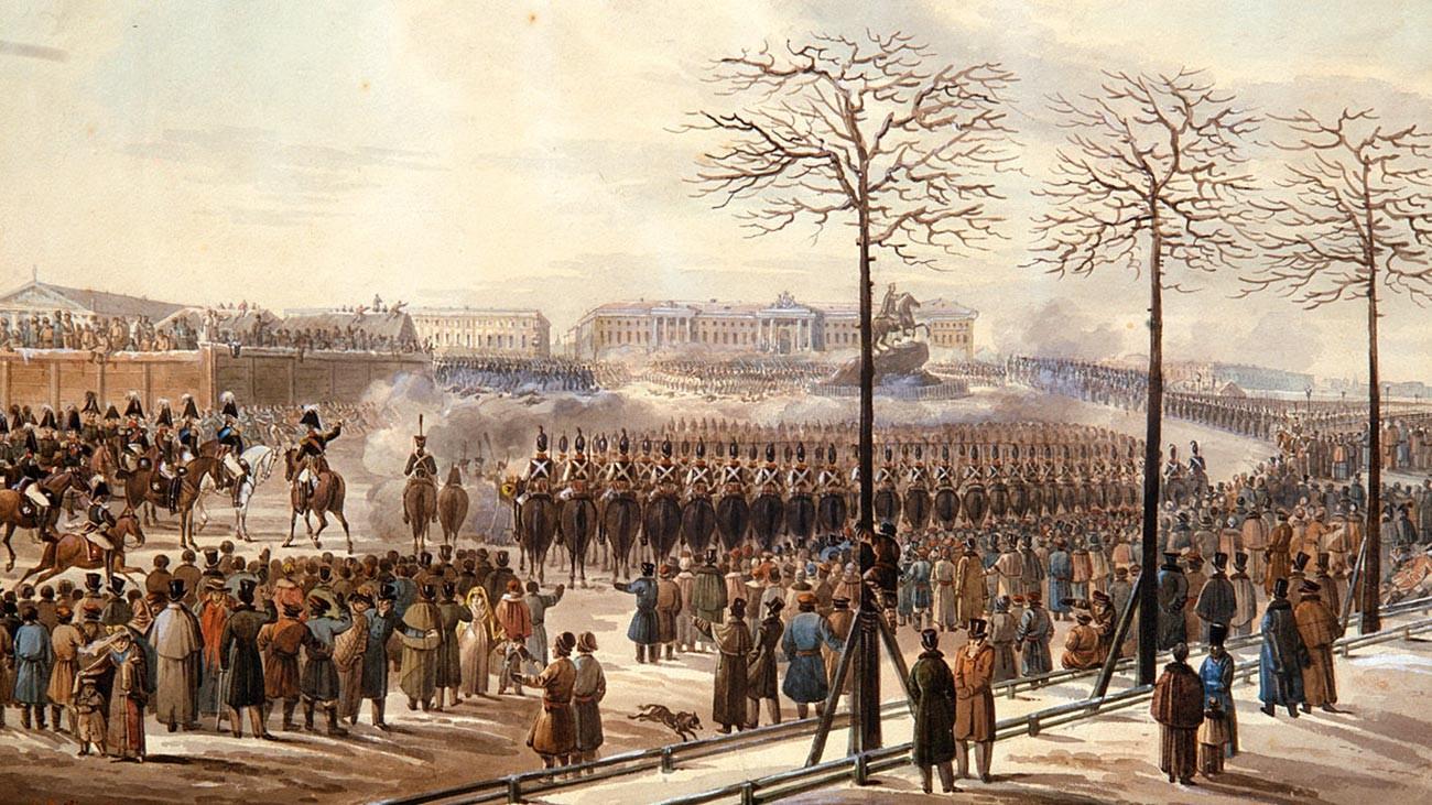 Place du Sénat à Saint-Pétersbourg le 14 décembre 1825. Dessin de Colman, du bureau du comte von Benckendorff