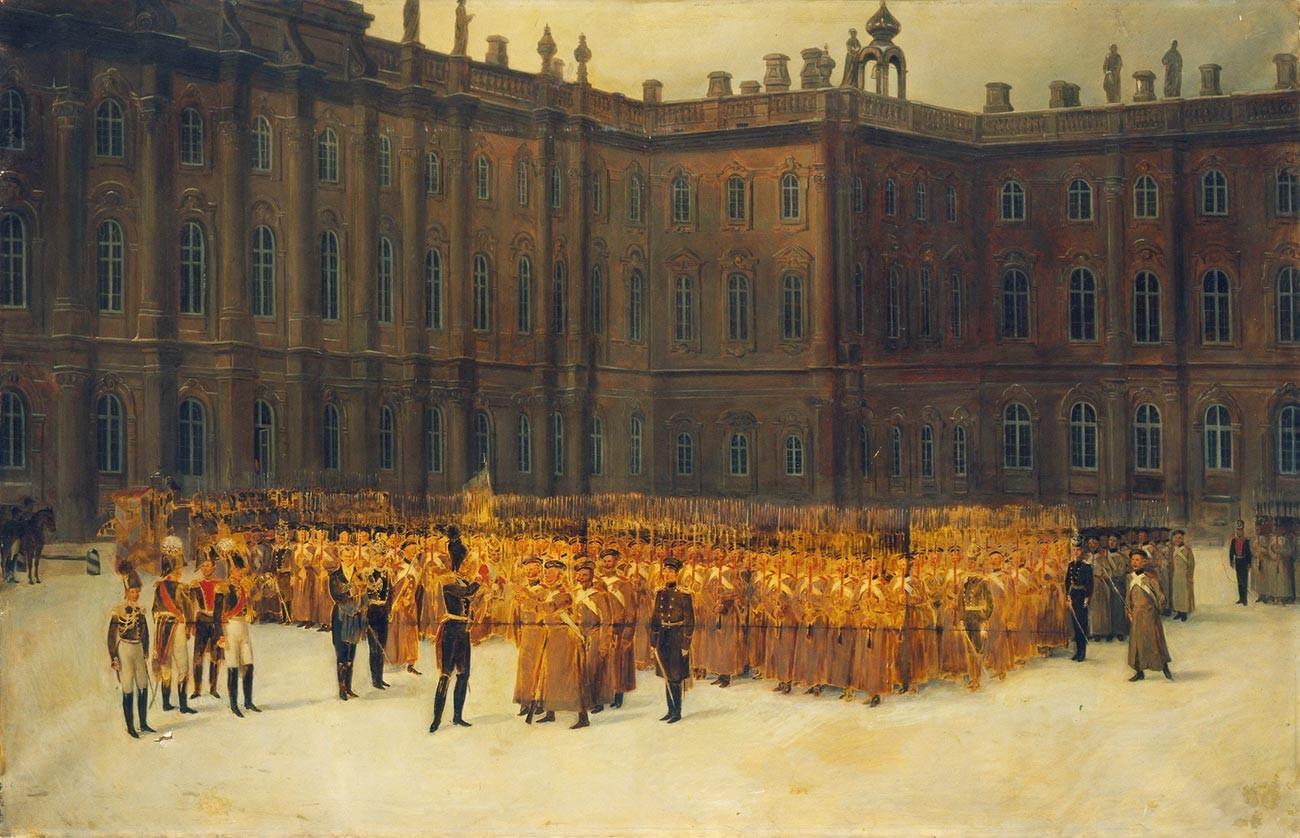 Nicolas Ier devant une formation de gardes du corps du Bataillon des sapeurs, dans la cour du Palais d'Hiver, le 14 décembre 1825.