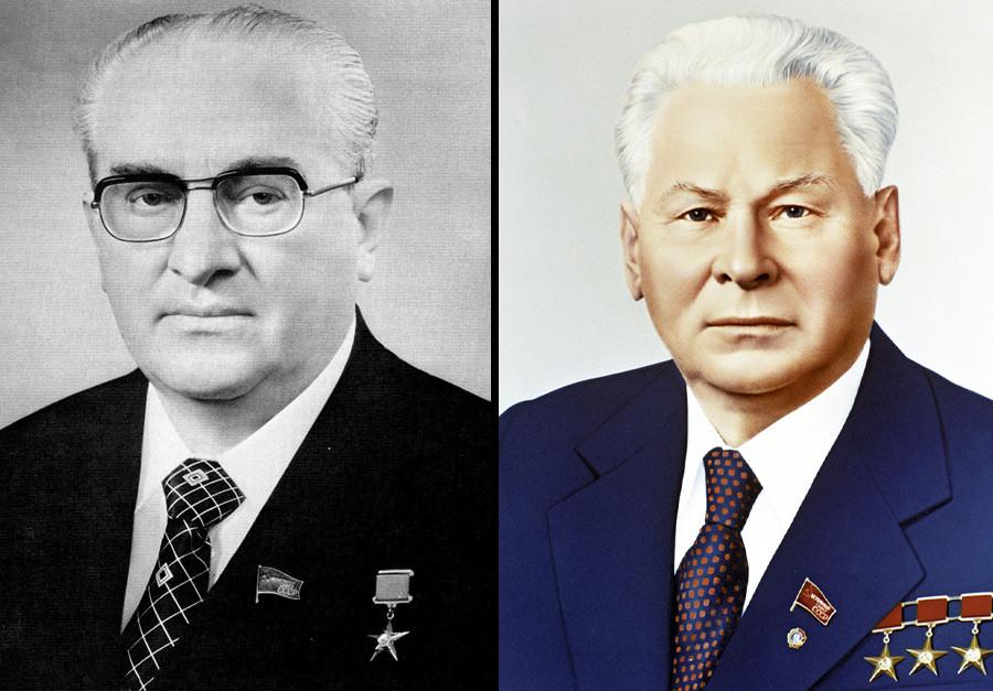 Iúri Andrôpov e Konstantín Tchernenko.