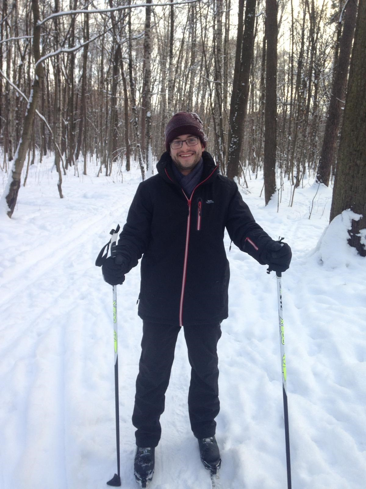 Elliot skiing in one of Moscow parks