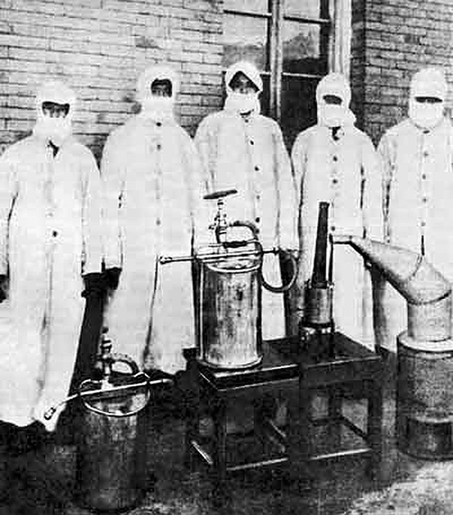 Equipe de desinfecção em Habrin