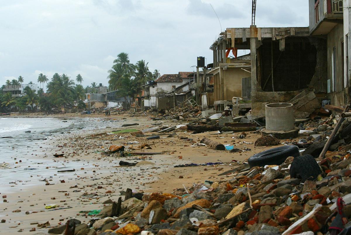 Debris from tsunami is scattered around Sri Lanka's Unawatuna beach.
