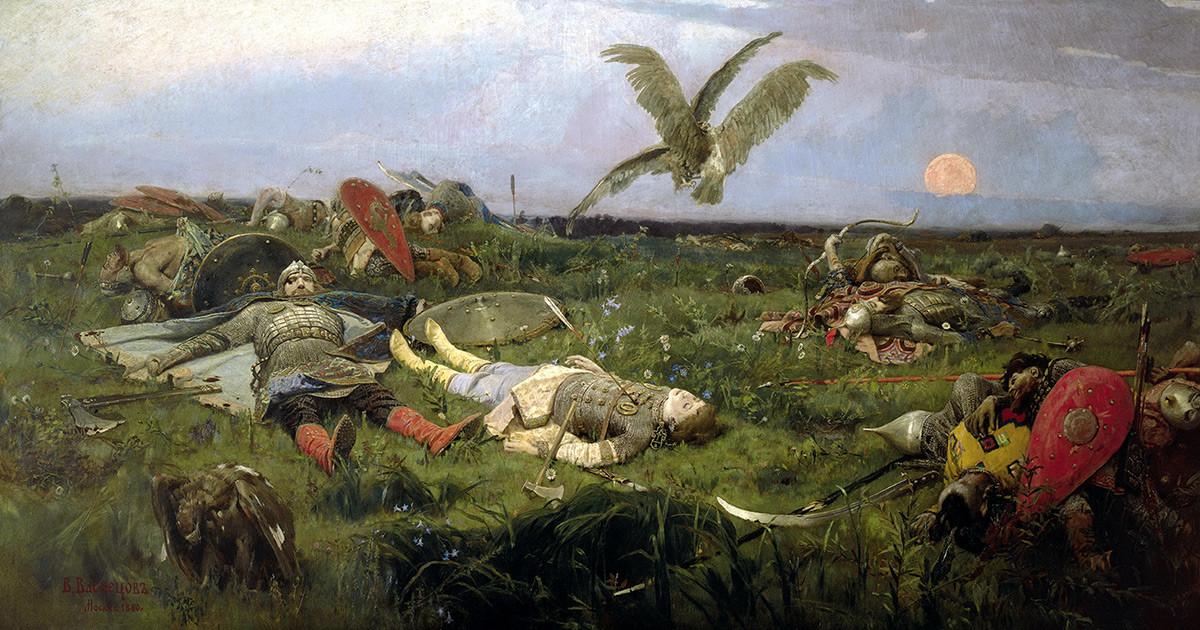 「イーゴリ・スヴャトスラヴィチとポロヴェツの合戦」, ヴィクトル・ヴァスネツォフ、1889年