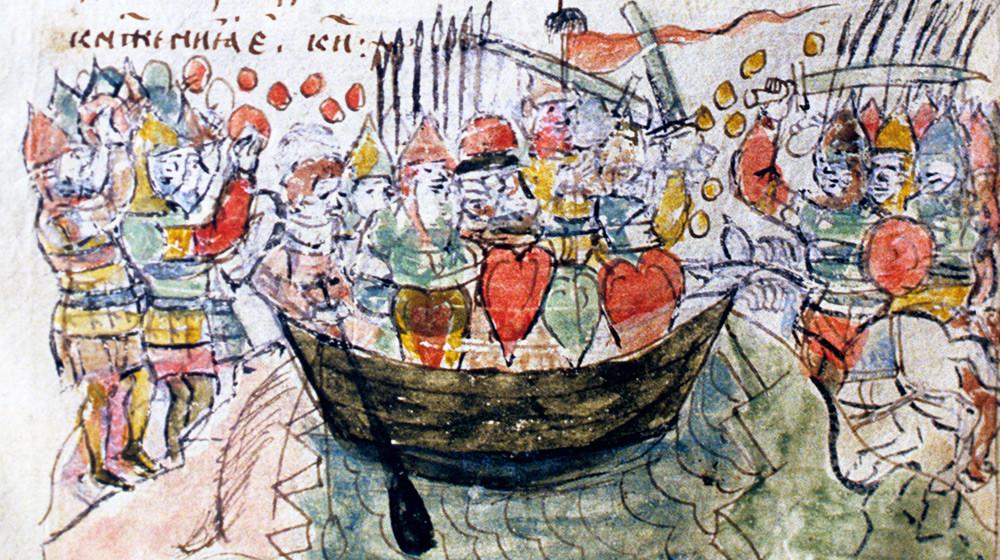 「ドニエストル川でペチェネグとの戦いでスヴャトスラフ1世大公が死亡したシーン」、細密画