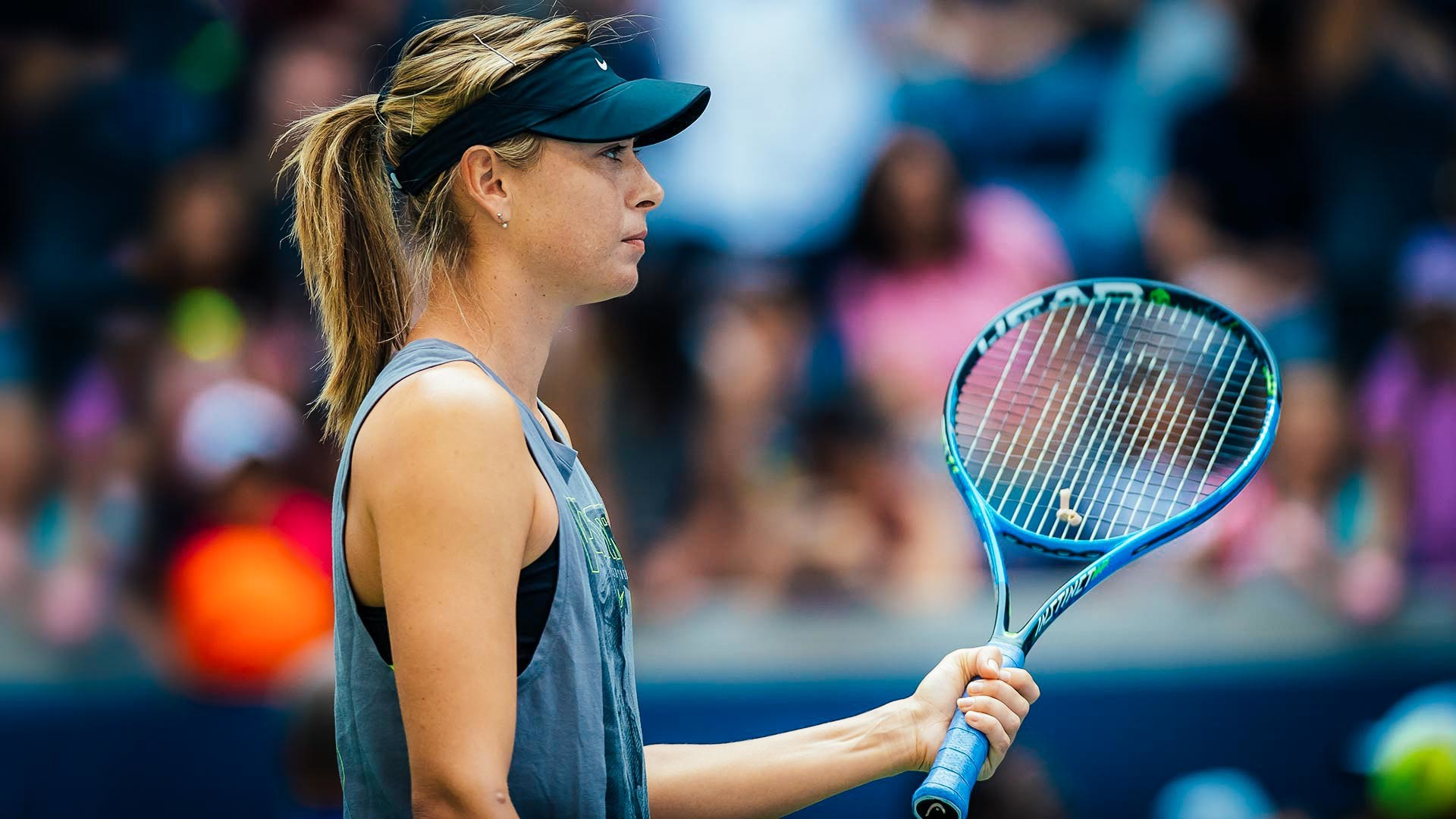 Maria Sharapova of Russia practices ahead of the 2018 US Open Grand Slam tennis tournament.