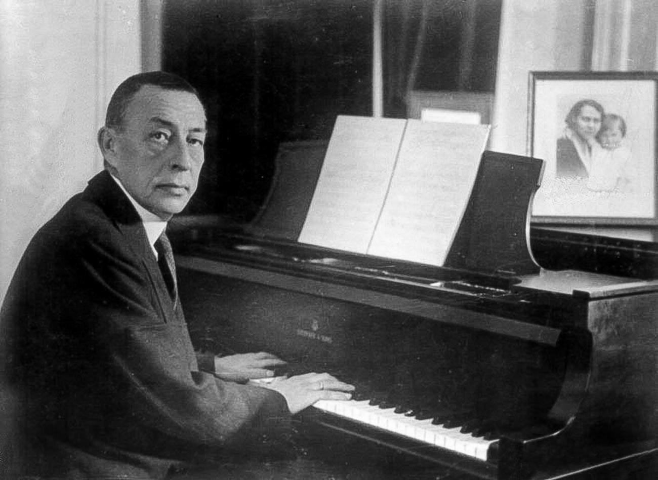 Sergei Rachmaninoff at a Steinway grand piano.