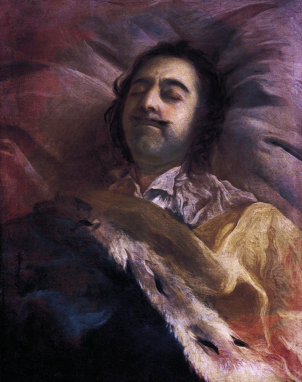 Lukisan 'Pyotr yang Agung di ranjang kematiannya' karya Ivan Nikitin.
