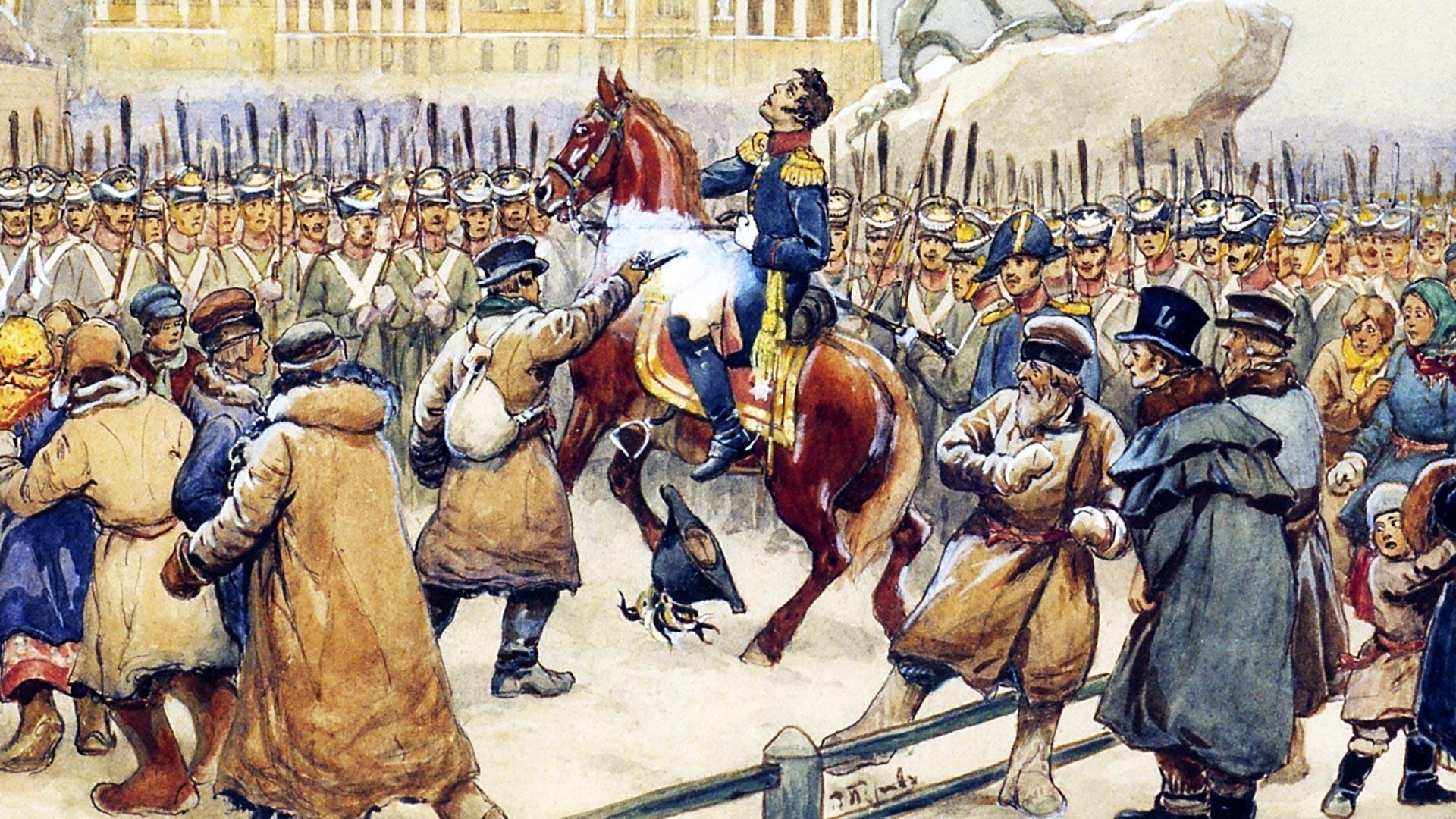 Vasilij Petrov, Streljanje generala Miloradoviča 14. decembra 1825