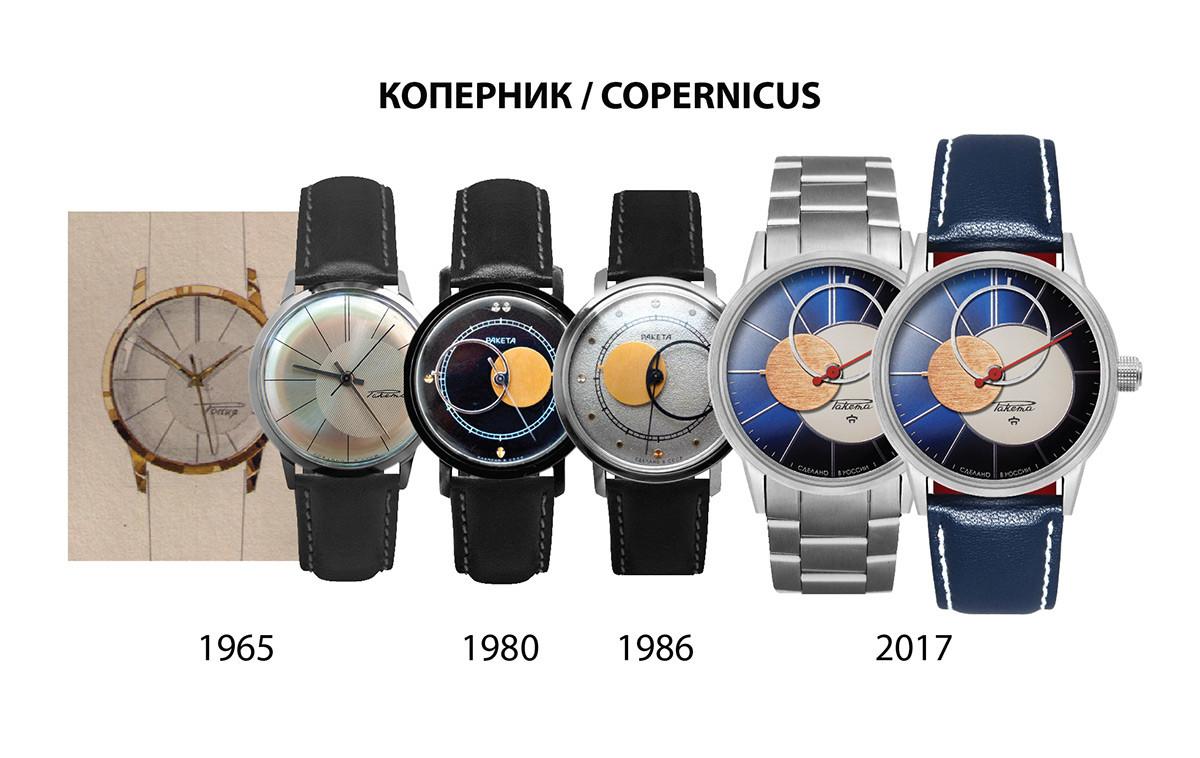 Desain jam tangan Raketa Copernicus dari waktu ke waktu.