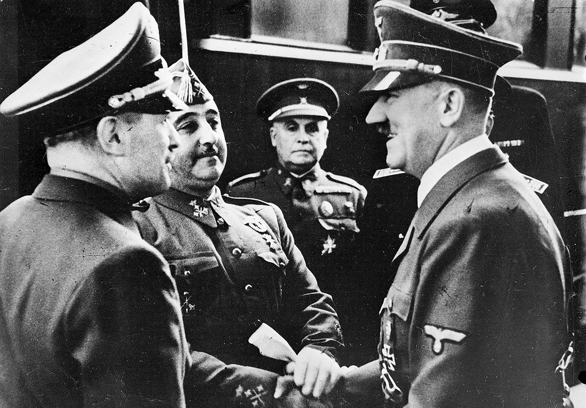 Генерал Франко и Адолф Хитлер, 23 октомври 1940 г.
