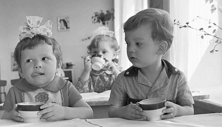 Dans un jardin d'enfants, en 1973