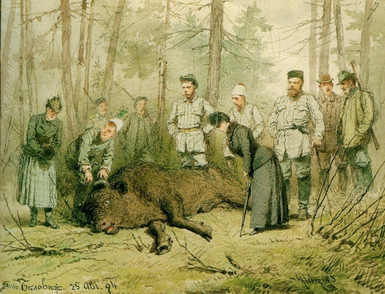 Alexander III. neben einem toten Bison in Beloweschskaja Puschtscha im Jahr 1894
