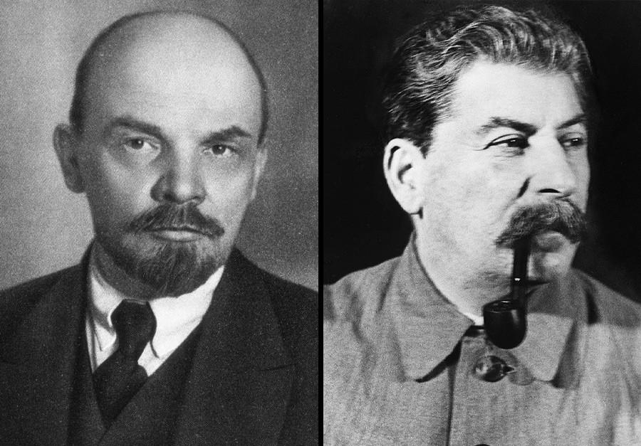 Vladimir Lenin (L), Joseph Stalin (R)
