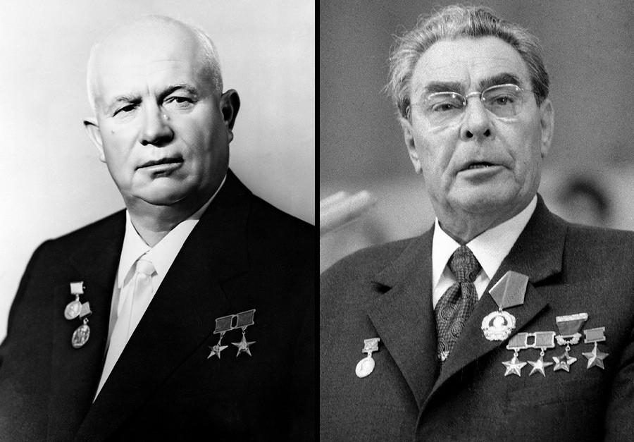 Nikita Khrushchev (L), Leonid Brezhnev (R)