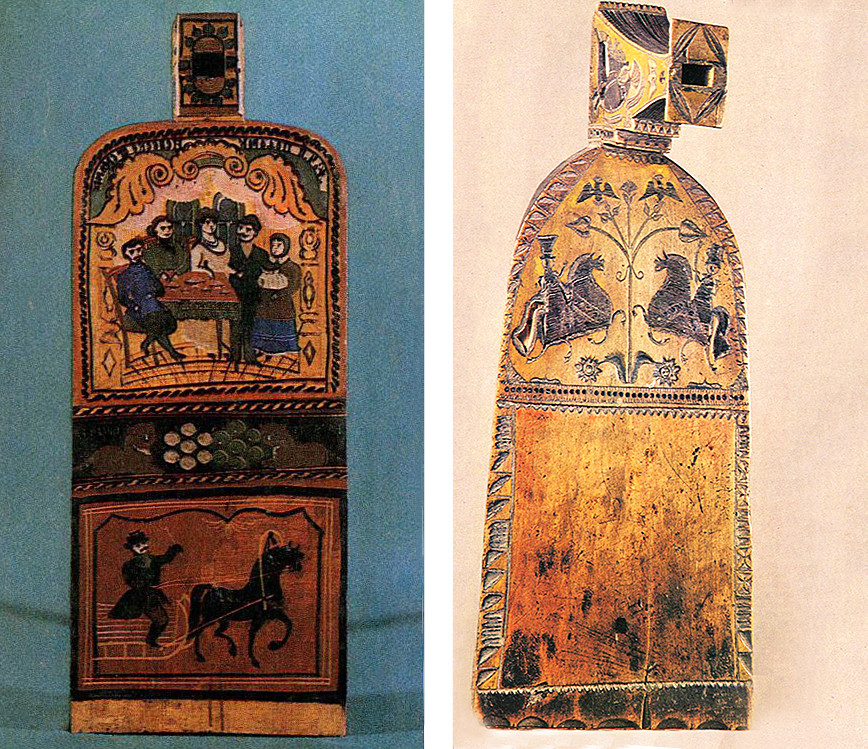 Gorodets style of carving (R) and painting