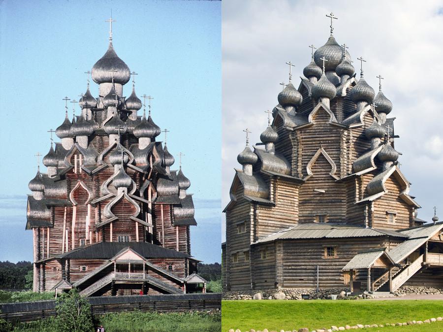 Kizhi. Iglesia de la Transfiguración, vista oeste. 13 de julio de 1993. A la derecha: Bogoslovka. Iglesia de la Intercesión, vista noroeste. 17 de agosto de 2009.