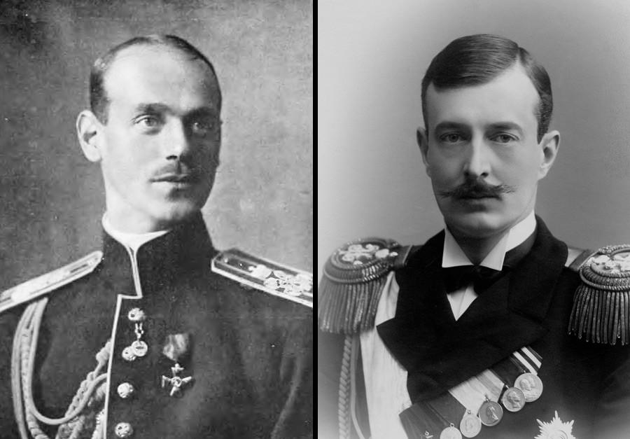 Adipati Agung Mikhail Aleksandrovich (kiri) dan Adipati Agung Kirill Vladimirovich.