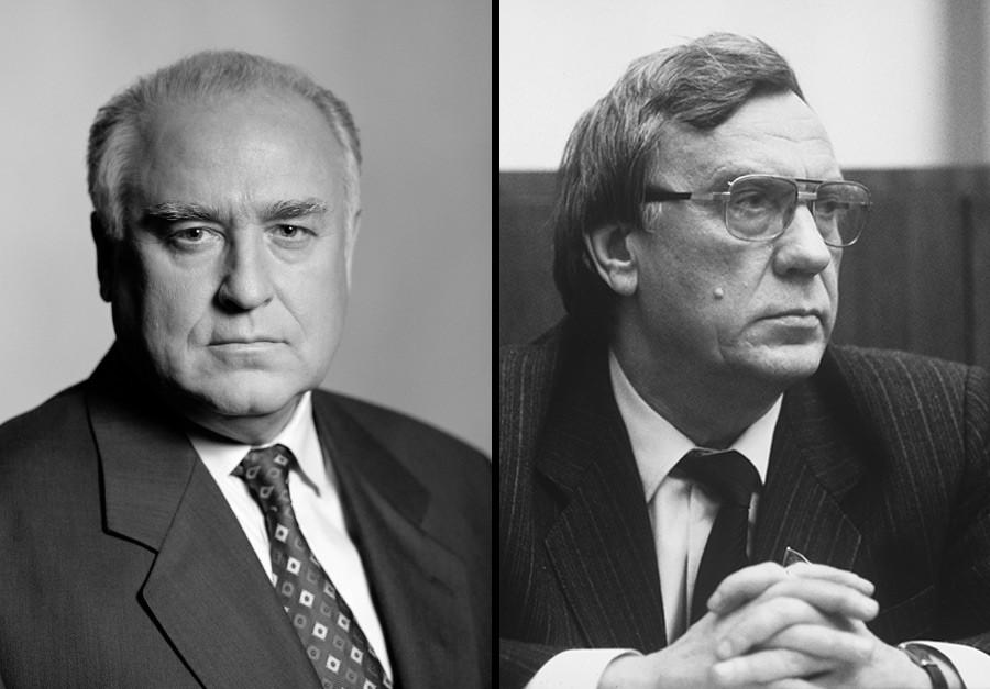 Viktor Chernomyrdin (kiri) dan Gennady Yanayev.