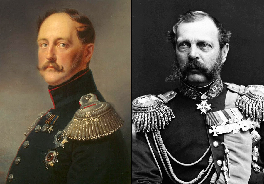 Nikolay I (kiri) dan Aleksandr II.