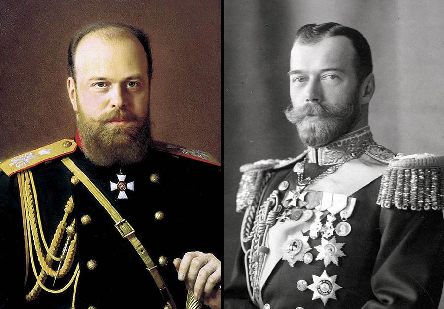 Alexander III (kiri) dan Nikolay II.