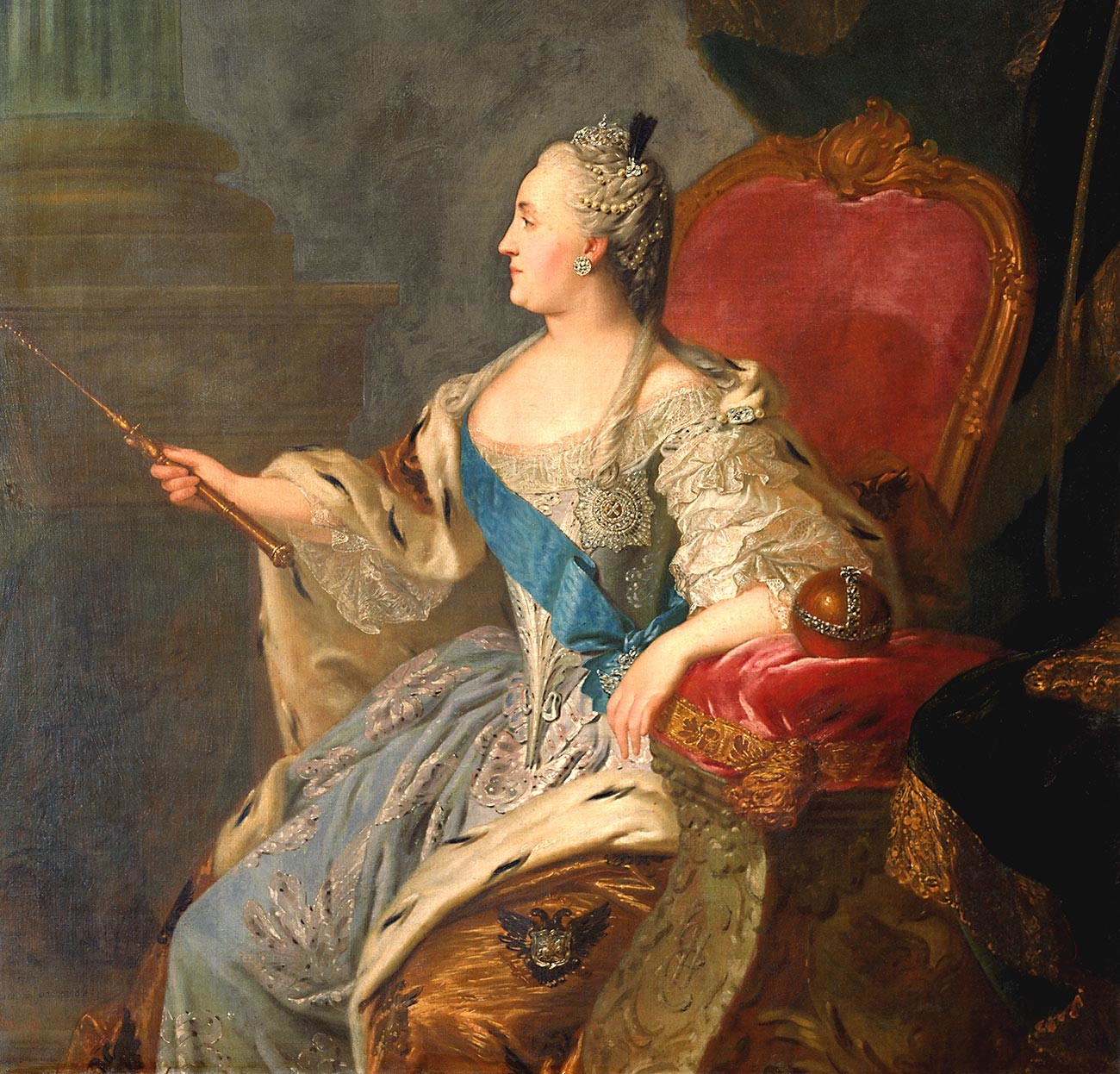 Profile portrait of Catherine II