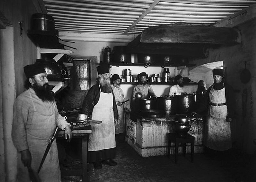 Food preparation in the monastic kitchen at Konevsky monastery, 1900s