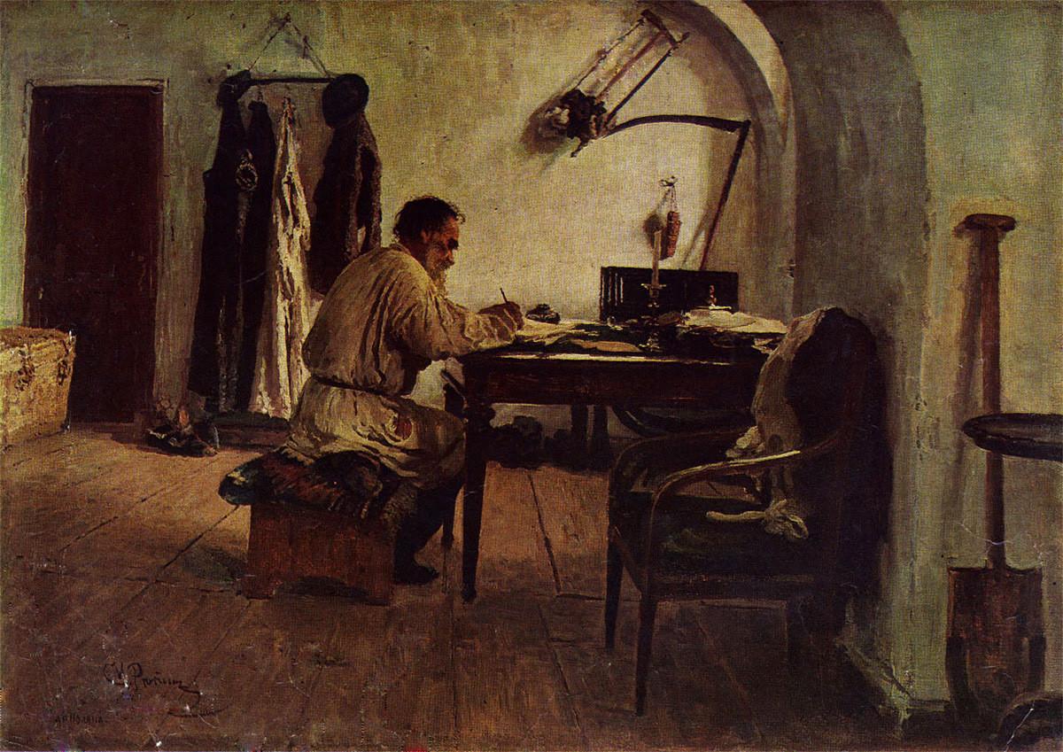 """""""Лав Толстој во соба"""", Иља Рјепин, 1891."""
