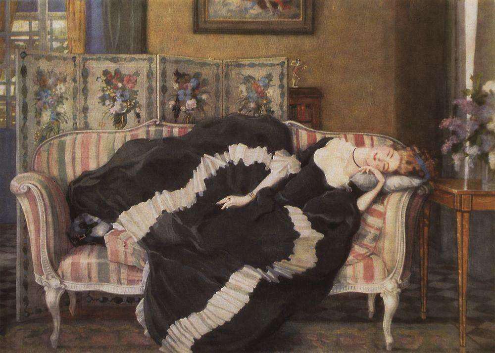 """Заспана млада жена"", Константин Сомов, 1909."