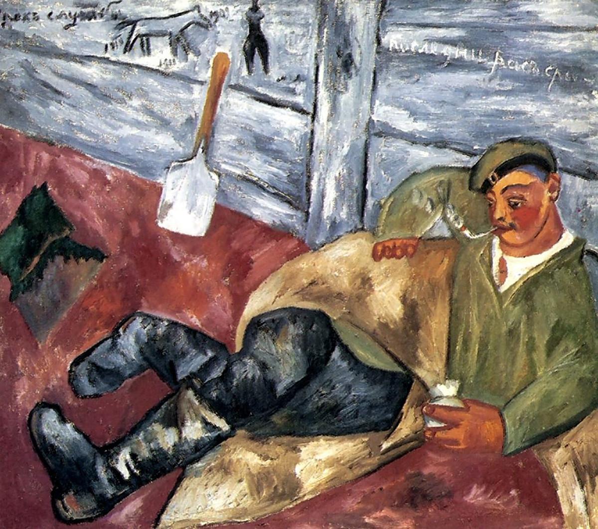 """Одмор на војник"", Михаил Ларионов, 1911."