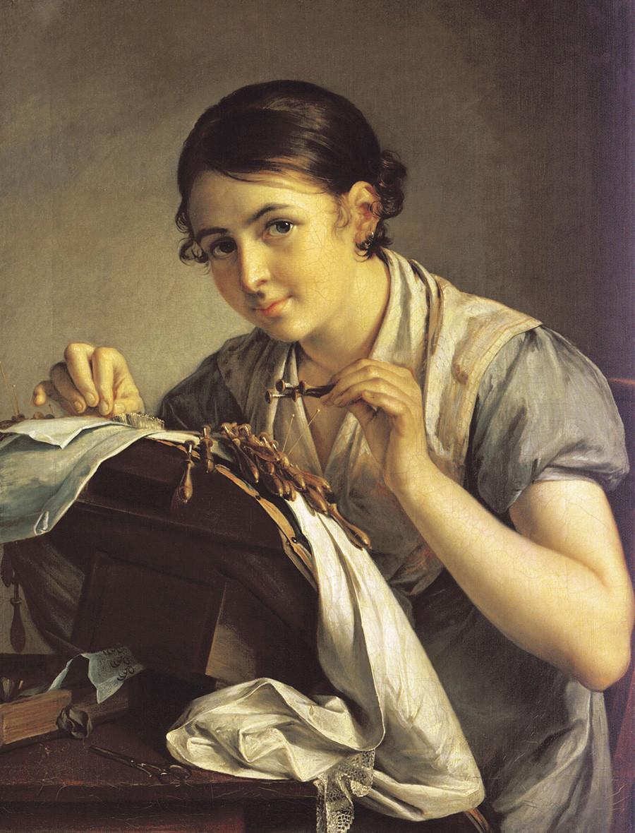 ワシリー・トロピーニン『レースを縫う女』(1823年)
