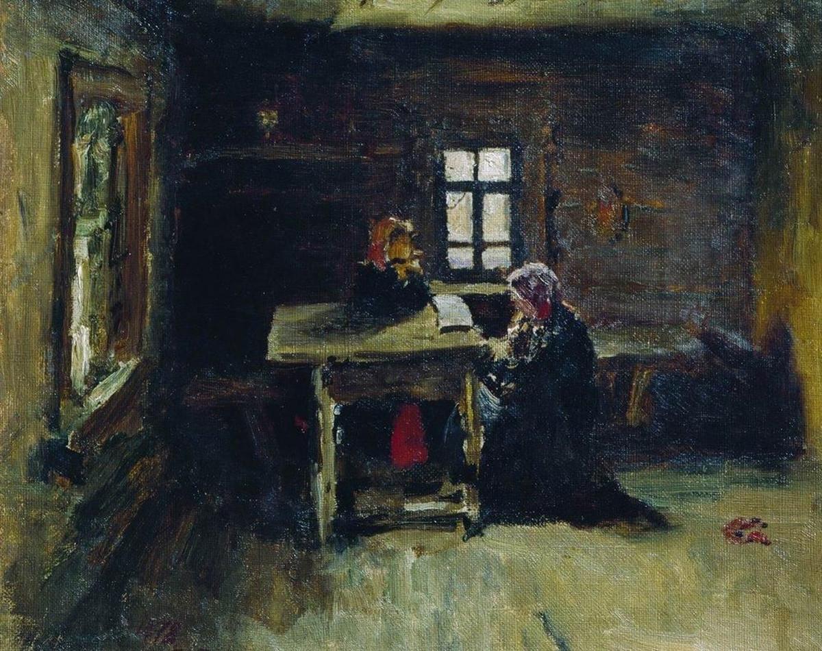 イリヤ・レーピン『小屋の中』(1878年)