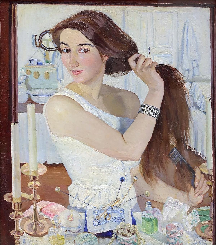 ジナイーダ・セレブリャコワ『化粧台にて。自画像』(1909年)