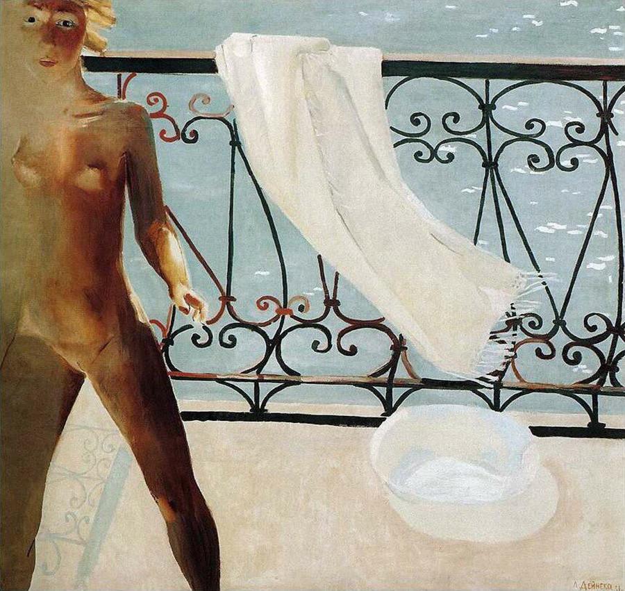 アレクサンドル・デイネカ『バルコニーで』(1931年)