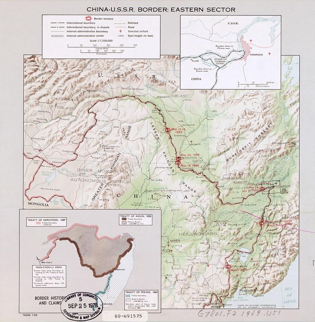 Lokacije obmejnih incidentov na sovjetsko-kitajski meji