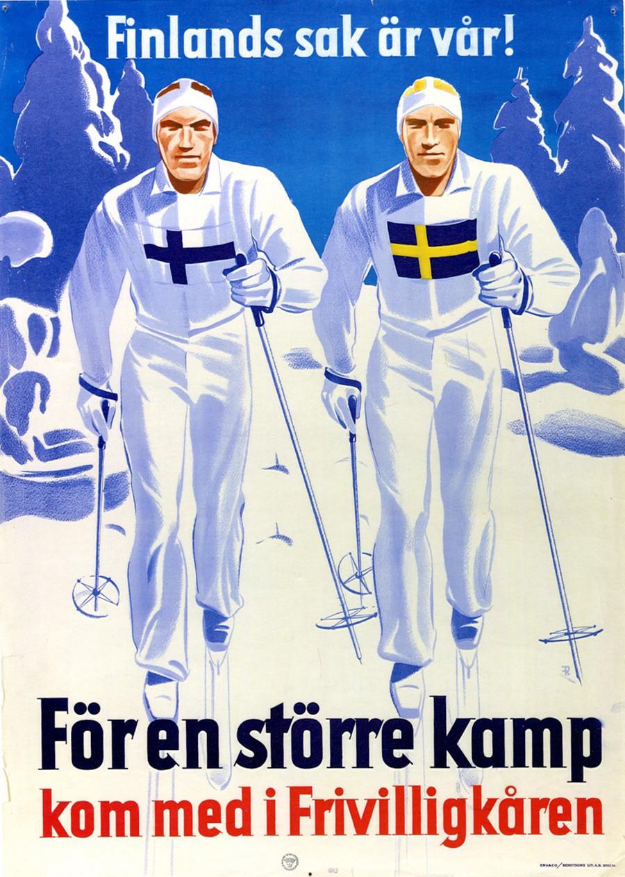 """Cartel sueco de propaganda sueca. """"La causa finlandesa es la nuestra. Para  una lucha mayor, únete al Cuerpo de Voluntarios"""