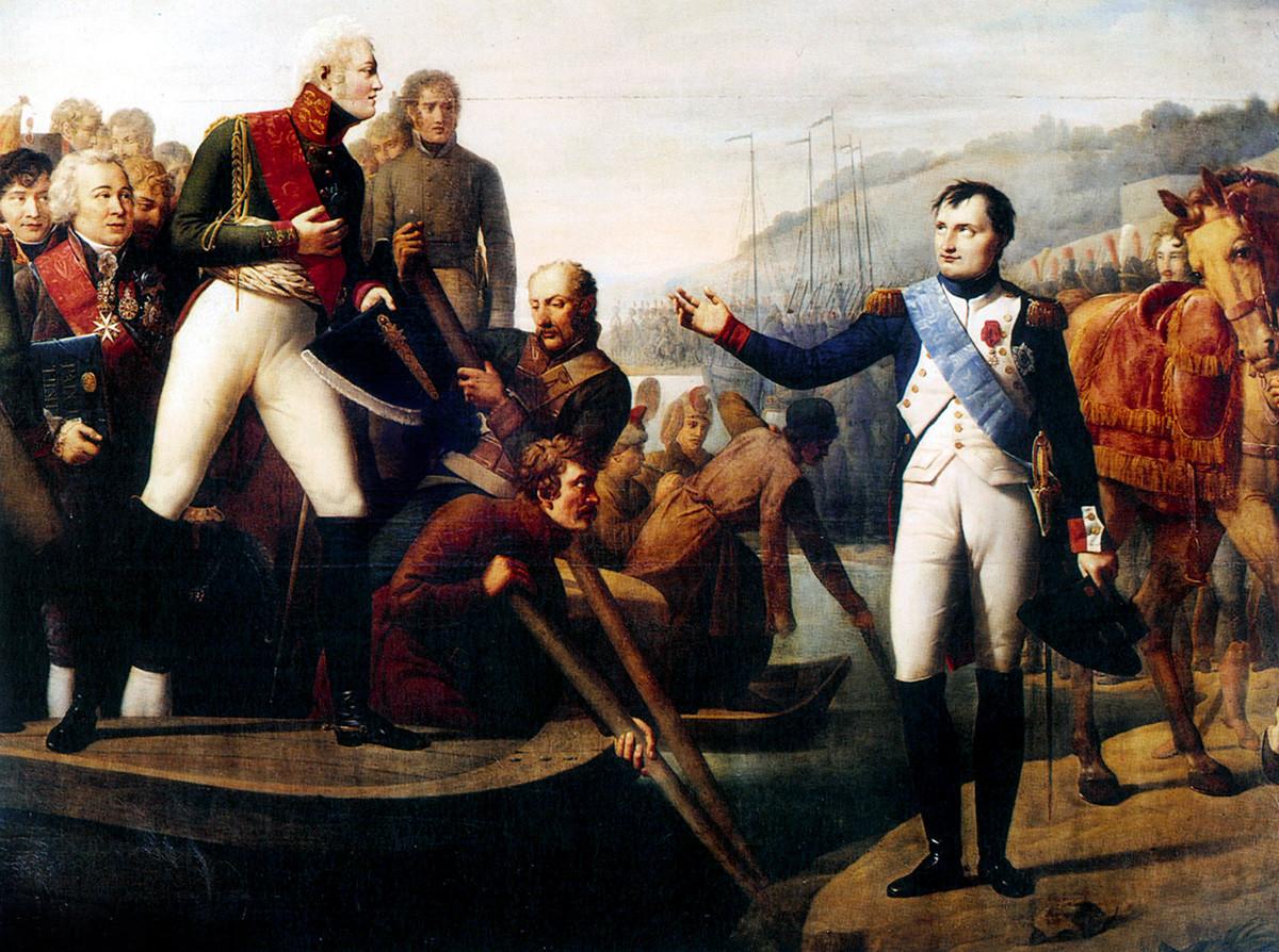 Император Александр и Наполеон во время заключения мира в Тильзите в 1807 году.