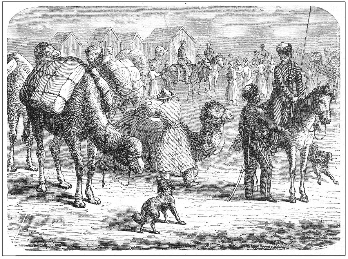 ロシアと中国の国境に集まった茶の商人