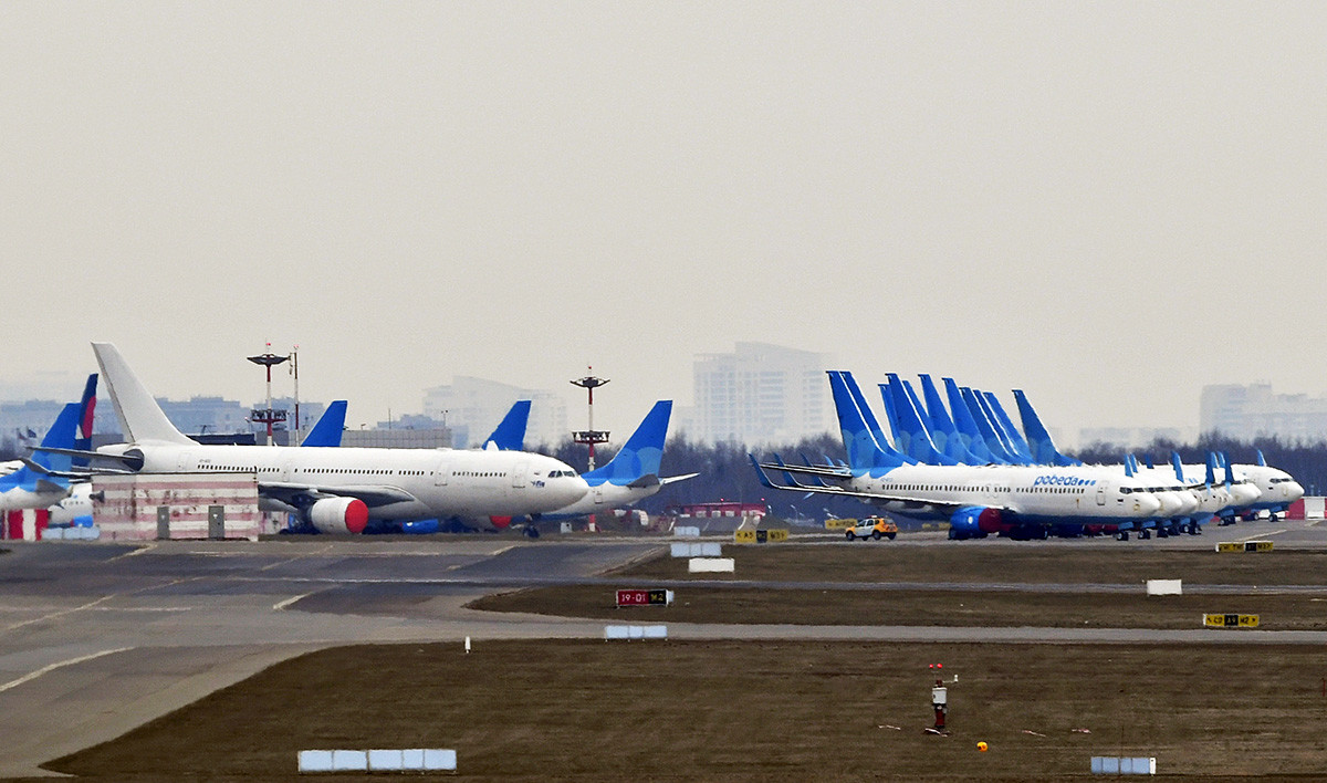 Planes of the Pobeda airlines at the Vnukovo airport.